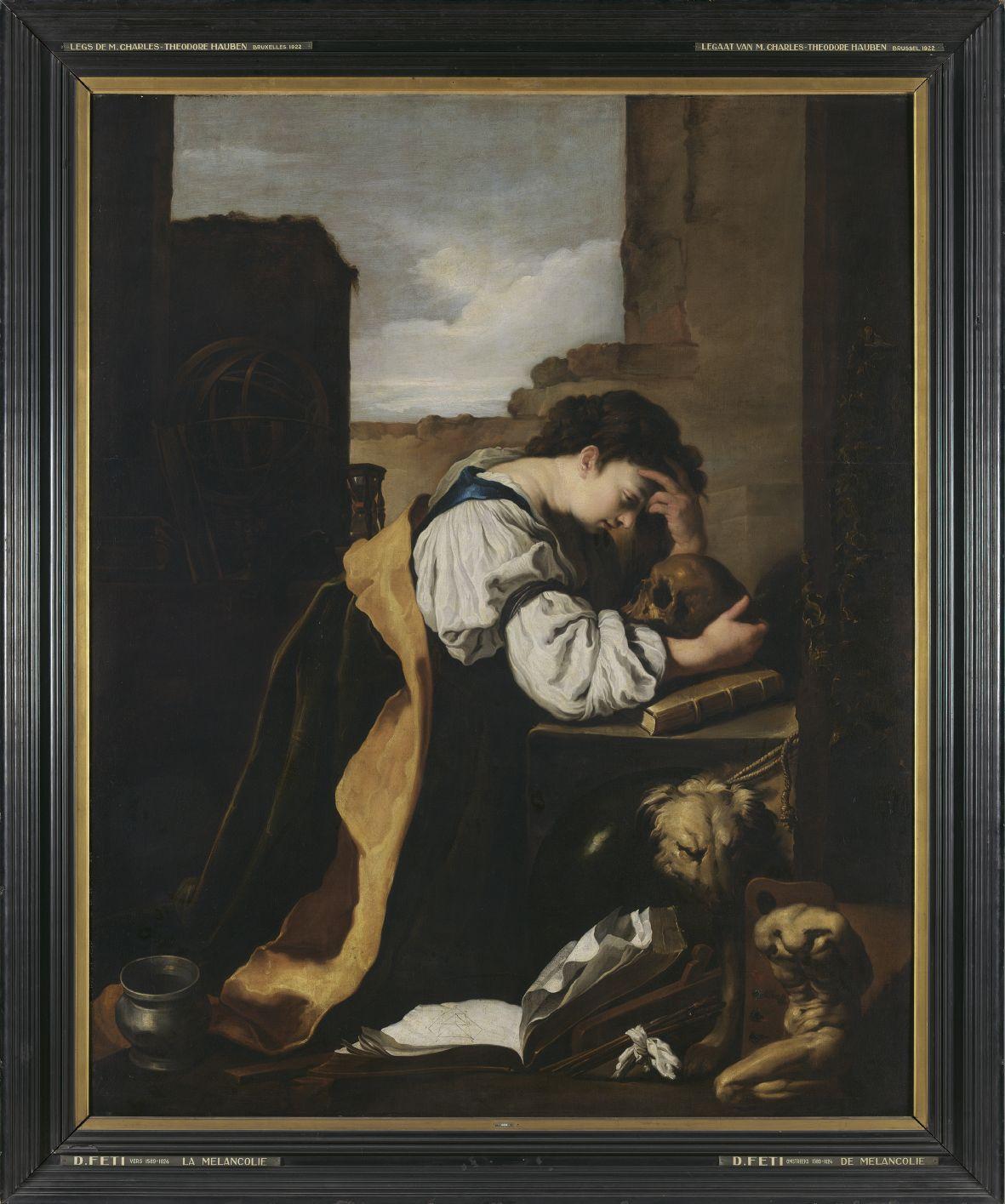 Domenico Feti (atelier van), De melancholie, 17de eeuw, olie op doek. -® Koninklijke Musea voor Schone Kunsten van Belgi+½, Brussel  foto J. Geleyns  Ro scan