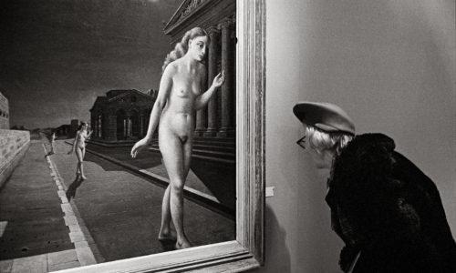 """FRANCE. Paris. Grand Palais. 1972. """"Peintres de l'imaginaire exhibition"""". Painting by Paul DELVAUX."""